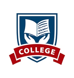 logo shield and book for college vector image vector image