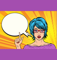pop art woman wow blue hair vector image vector image