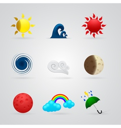 set of color weather icons vector image vector image