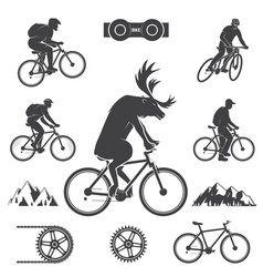Set of cycling mountain bike icons vector