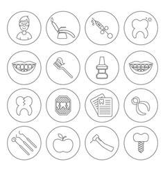 set of dental in modern thin line style high vector image vector image