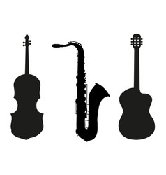 set of music instrumets silhouettes vector image