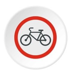 Sign bicycle path icon flat style vector
