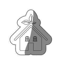 Sticker silhouette of ecological house icon flat vector