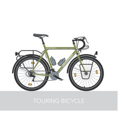 trekking bicycle configuration for long traveling vector image vector image