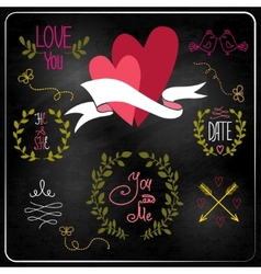 Wedding graphic set on chalkboard vector image