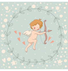 Wreath Cupid vector image
