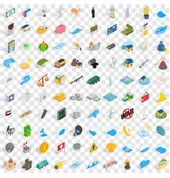 100 power icons set isometric 3d style vector