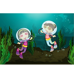 Happy girls diving underwater vector
