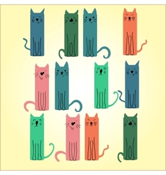 Many colored cat on a light background vector