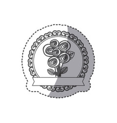 silhouette decorative emblem with rounds roses vector image