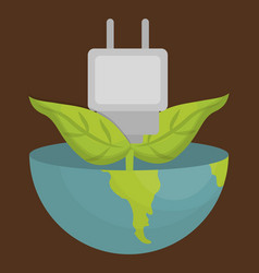 Earth planet and electric plug vector