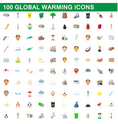 100 global warming icons set cartoon style vector