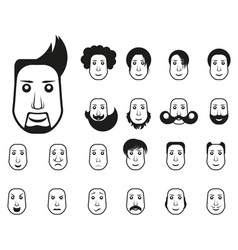 Male icons set with different hairstyle and emotio vector