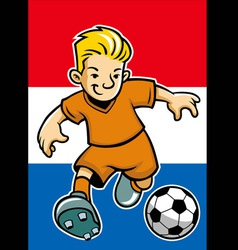 Holland soccer player with flag background vector
