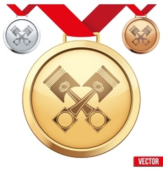 Gold medal with the symbol of pistons inside vector