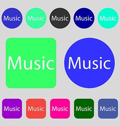 Music sign icon karaoke symbol 12 colored buttons vector