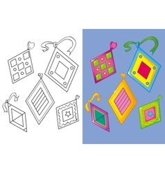 Coloring book of set nice different rombs vector