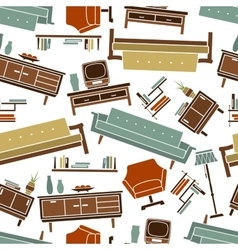 Home furniture retro seamless pattern vector