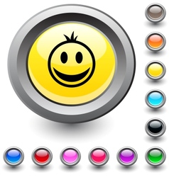 Smiley round button vector image