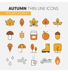 Autumn Thin Line Icons with Umbrella vector image