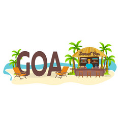 Beach bar goa india travel palm drink summer vector