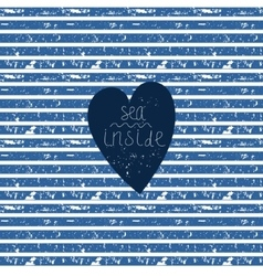 Blue heart on striped pattern vector image vector image