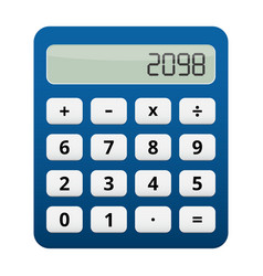 Blue plastic calculator white buttons vector