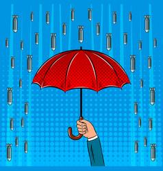 bomb rain and umbrella pop art vector image
