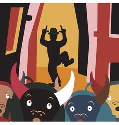 Bull run vector image