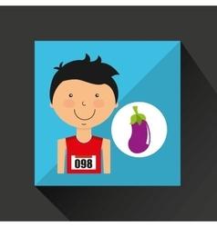 Cartoon boy athlete with eggplant vector