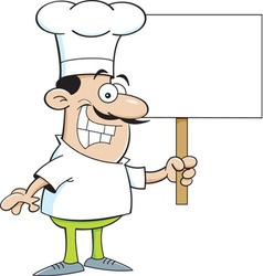 Cartoon chef holding a sign vector image vector image