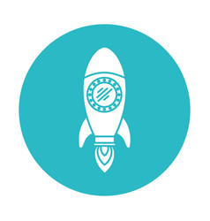 Circle light blue with space rocket vector