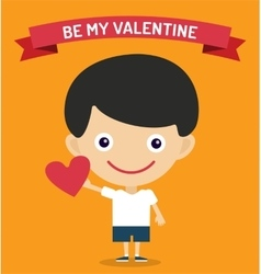Cute cartoon boy with heart vector image vector image