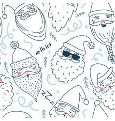cute santa clauses seamless pattern vector image