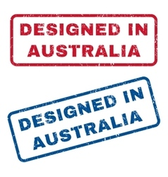 Designed in australia rubber stamps vector