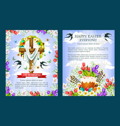 Easter crucifix cross paschal cake poster vector