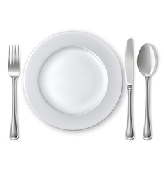 Empty plate with spoon knife and fork vector