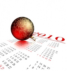 fir ball on calendar vector image vector image