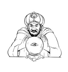 Fortune teller crystal ball drawing vector