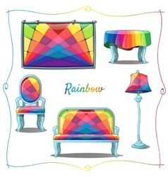 Furniture and interior decor with rainbow pattern vector