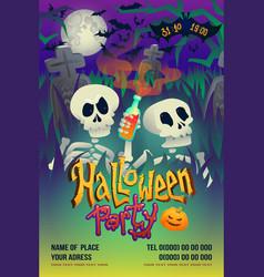 Halloween party flyer with skeleton on dark vector