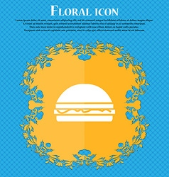 Hamburger icon sign floral flat design on a blue vector