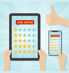 hands choosing five stars rating on gadgets vector image vector image