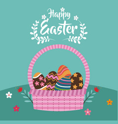 happy easter basket egg decoration flower vector image