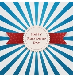 Happy friendship day emblem with ribbon vector