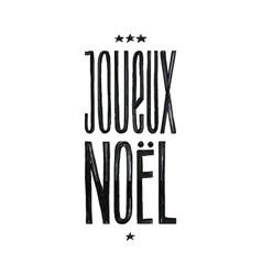 Joueux Noel Merry Christmas Retro Poster in vector image
