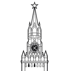 Kremlin tower with clock in moscow russia vector