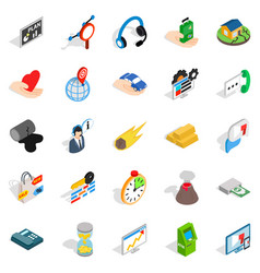 means of subsistence icons set isometric style vector image vector image