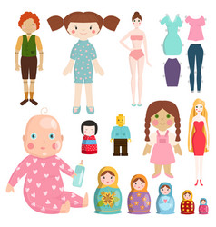 set icons small girls dolls playing with toys vector image